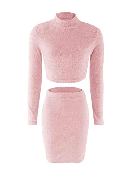 38c0b383a13b2 Naliha Womens Fuzzy Crop Top Pencil Skirts 2 Pieces Furry Bodycon ...