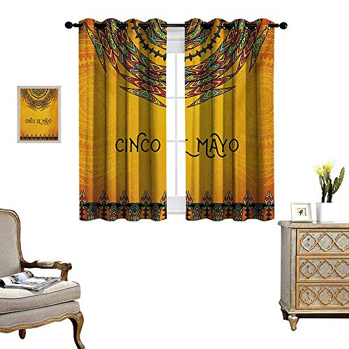 (Mexican Waterproof Window Curtain 5th May Celebration Historical National Aztec Victory Holiday Cinco de Mayo Art Blackout Draperies for Bedroom W63 x L63 Orange Green)