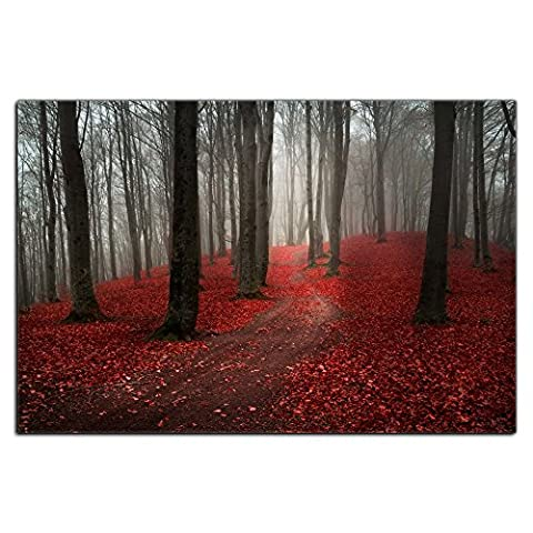 Modern Large Tree Painting, Black White Red Forest Landscape Canvas Wall Art Posters and Prints Pictures for Living Room Stretched Ready to Hang (20WX30L, (Red And Black Canvas Art)