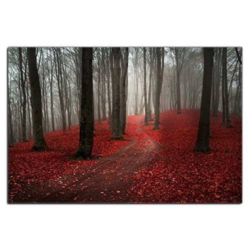 Modern Large Tree Painting, Black White Red Forest Landscape Canvas Wall Art Posters and Prints Pictures for Living Room Stretched Ready to Hang (20WX30L, P2)