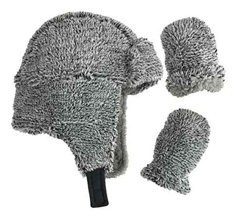 N'Ice Caps Little Boys and Baby Buffalo Plaid Fleece Trooper Hat Mitten Set (Fuzzy Grey Infant, 6-18 Months)
