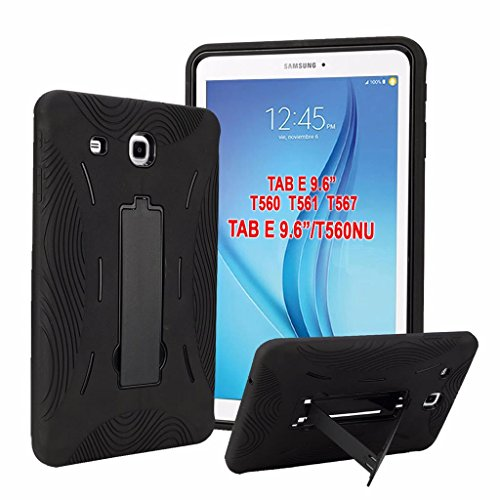 100% FIT Galaxy Tab E 9.6 T560NU Case,Premium Hybrid Drop Proof Armor Defender Protection Heavy Duty Kickstand for Samsung Galaxy Tab E Nook 9.6 Cover Case (Black)