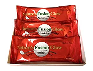 Natures Fusion Glow Bar – An Organic Nutrition Energy Bar – Gluten Free – No Sugar – Made in U.S.A. - 3-Pack