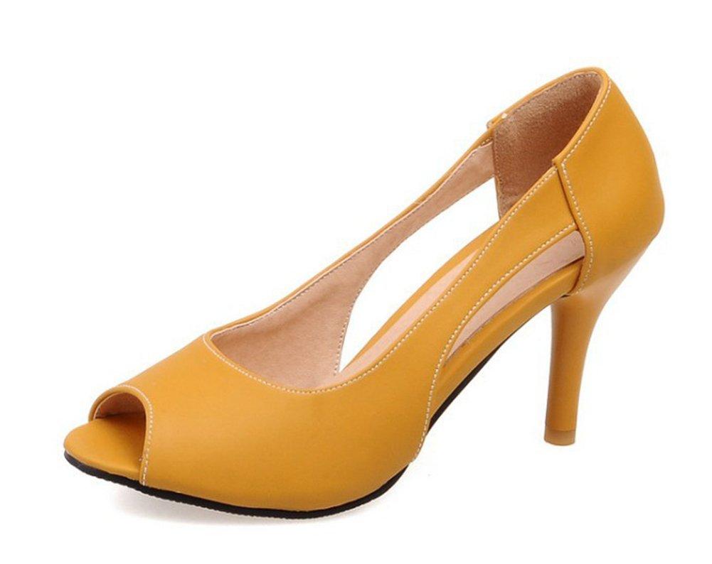 Aisun Women's Low Cut Simple Dressy Peep Toe Slip On D'orsay Stiletto High Heels Sandals Shoes (Yellow, 9.5 B(M) US)