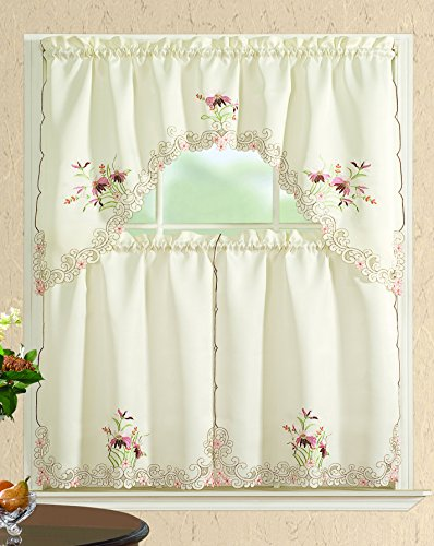 All American Collection New 3pc Embroidered Kitchen Curtain Set Various Designs (Swag Valance, Pink Flower)