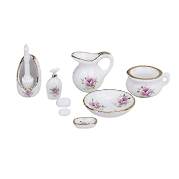 Baoblade Modern Style Porcelain Bathroom Set for 1//12 Miniature Dollhouse Accessories