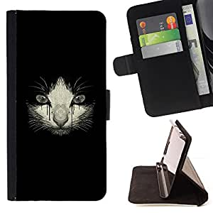 DEVIL CASE - FOR Samsung Galaxy S5 Mini, SM-G800 - Crying Sad Kitten Cat Drawing Black - Style PU Leather Case Wallet Flip Stand Flap Closure Cover