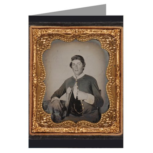 Single Vintage Greeting Cards of Southern Civil War Soldier in Virginia Volunteer Uniform and Secession Badge From the Civil War (Single Cards War)