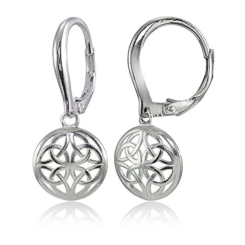 Sterling Silver High Polished Filigree Round Dangle Leverback (Each Round Leverback Earrings)