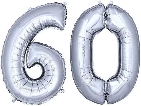 DekoRex® número Globo decoración cumpleaños Brillante para Aire y Helio en argentado 120cm de Alto No. 60