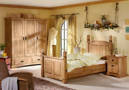 Schlafzimmer Mexican Komplett 3 Teilig Aus Massiver Kiefer Antik Gewachst Amazon De Kuche Haushalt