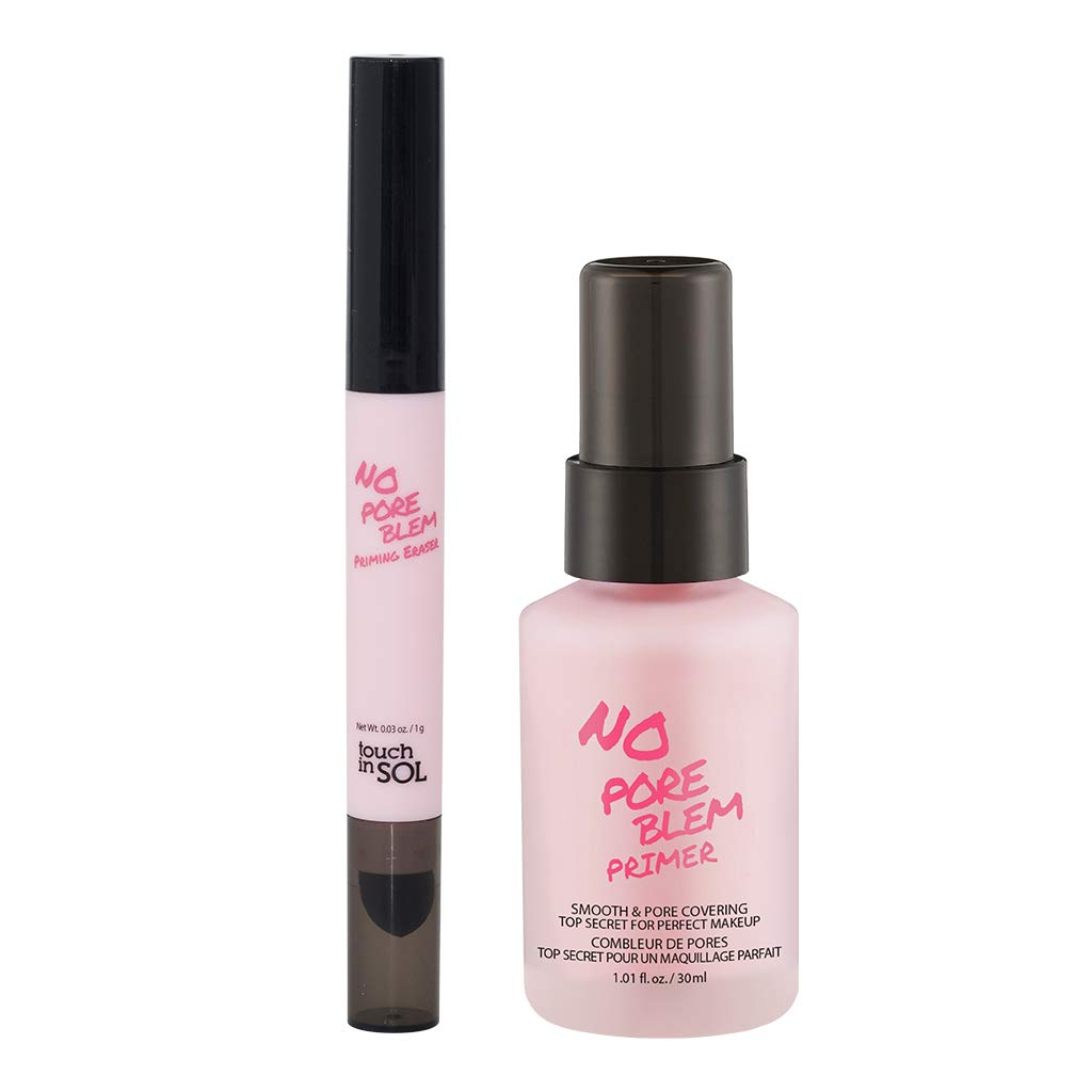 TOUCH IN SOL No Pore Blem Primer 1.01 fl.oz(30ml) + Priming Eraser Set/Face Makeup Primer, Big Pores Perfect Cover, Skin Flawless and Glowing, Long Lasting Makeup's Staying