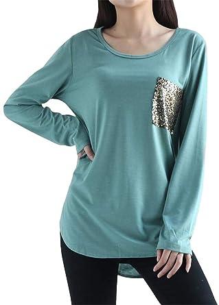 01741a01aaa2e7 Amazon.com: Fensajomon Womens Glitter Sequins Casual Long Sleeve Plus Size  Top Blouse T-Shirt: Clothing