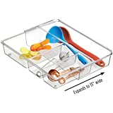 """mDesign Adjustable, Expandable 4 Compartment Kitchen Cabinet Drawer Organizer Tray - Divided Sections for Cutlery, Serving Spoons, Cooking Utensils, Gadgets - BPA Free, Food Safe, 2"""" Deep, Clear"""