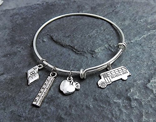 Teacher Bus (Bus Driver or Teacher Gift Personalized Charm Bracelet - Choice of Expandable Bangle)