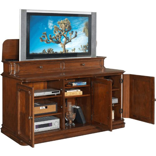 Tv Lift Cabinet For 40 60 Inch Flat Screens Stained
