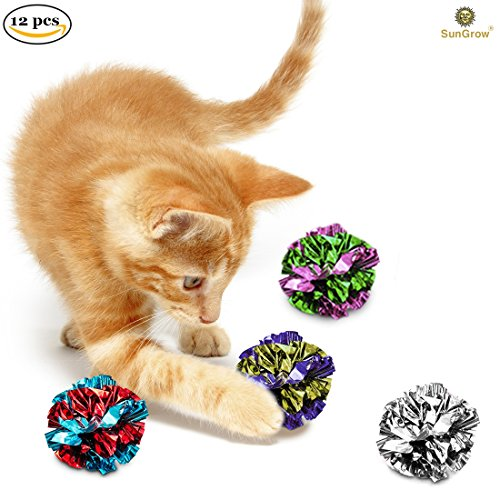 51wJF1FrMrL - 12 Mylar Cat Crinkle Balls by SunGrow : Shiny with Interesting Crinkly Sounds : Keep pets Entertained for hours: Soft, lightweight and fun toy for both Kittens & Adult Cats : Safe for your kitty