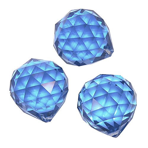 Juvale 3-Piece Crystal Suncatchers - Hanging Faceted Crystal Balls, Decorating Feng Shui Prism Pendants, Blue, 1.7 Inches