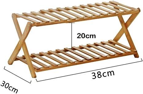 Zapatero 2 Niveles Plegable Simple Bamboo Shoe Cabinet Organizador Estantes Decoración Rack (L) 38x (D) 30x (H) 20cm: Amazon.es: Deportes y aire libre