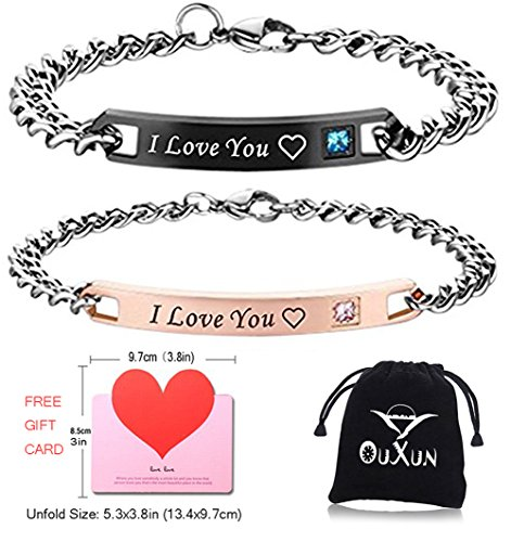 I Love You Bracelets for Couples Lovers Chic BF GF Promise Wrap Bracelets Set 2 Engraving Gay His Hers Initials Simple Hearts Romantic Birthday Engaged Present Anniversary Gift for Girls Men Cheap