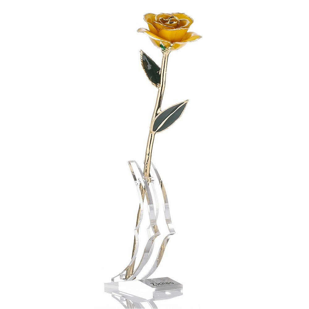 ZJchao Gifts for Women, Long Stem Dipped 24k Gold Trim Red Rose in Gold Gift Box with Stand Best Gift for Valentines/Mothers/Anniversary/Birthday/Galentine's Day(Yellow Rose with Stand) by ZJchao (Image #1)