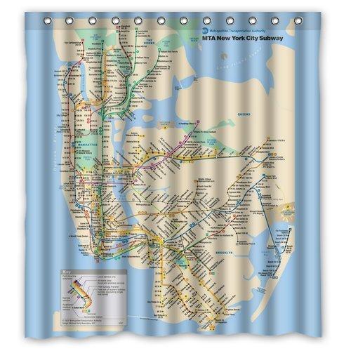 Custom New York City Underground Tube Subway Map Shower Curtain 66quot X 72quot
