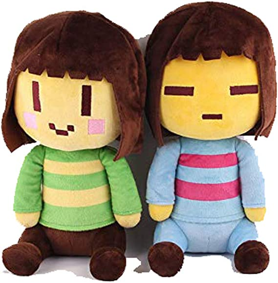 2 Pcs Undertale Frisk and Chara Stuffed Doll Plush Doll Toy Gift for kids 20CM