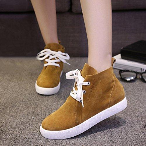 Botas Mujer,Ouneed ® Hebilla de moda mujeres tobillo botas Flats zapatos Amarillo
