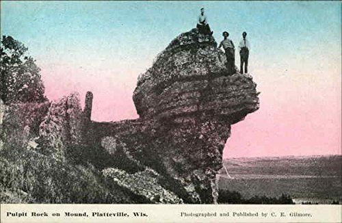 (Pulpit Rock on Mound Platteville, Wisconsin Original Vintage Postcard)
