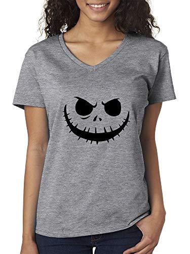 New Way 971 - Women's V-Neck T-Shirt Jack Skellington Pumpkin Face Scary 2XL Heather Grey -