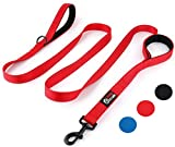 Primal Pet Gear Dog Leash 8ft Long - RED - Traffic Padded Two Handle - Heavy Duty - Double Handles Lead for Control Safety Training - Leashes for Large Dogs or Medium Dogs - Dual Handles Leads