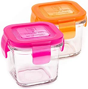 Wean Cube Glass Food Storage Raspberry Carrot Combo - Pack of 2 x 4 oz square containers Pink & Orange