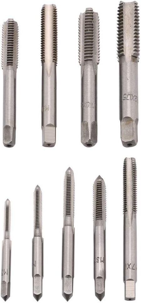 herramientas para cortar roscas externas e internas Juego de 20 piezas de roscas m/étricas y troqueles M3 ~ M12 con caja de almacenamiento de acero de alto carbono