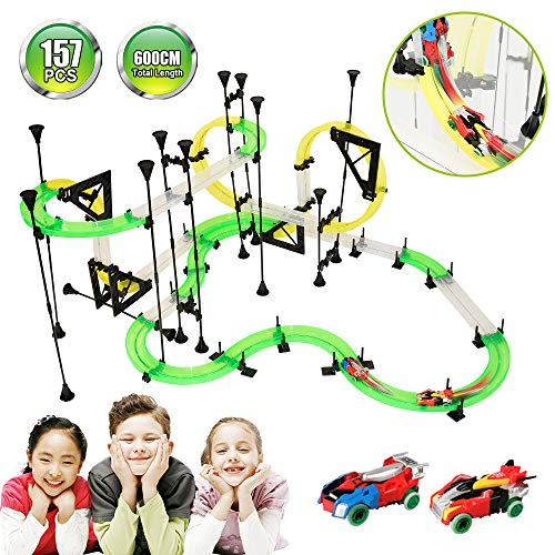 (KOMZONG RC Car with Track,Racing Track Car,600cm Car Race Track Set Speeding Racing Car with 3D Track,2 Cars, 2 Hand-Operated Controllers, DIY Assembly Toys for Party Game Kids Friends)