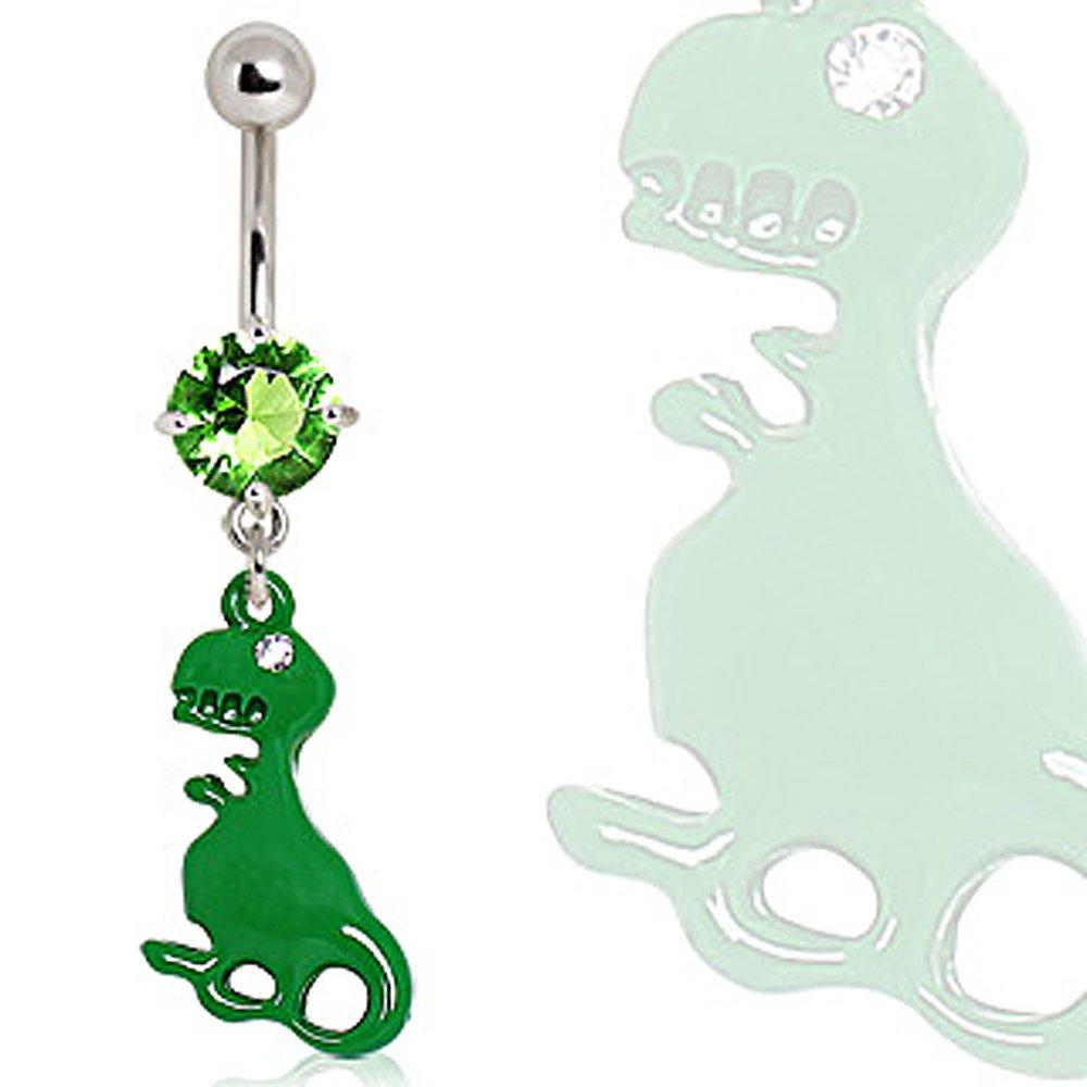 316L Surgical Steel Green Dinosaur Navel Ring - 14GA Green L:3/8'' - Sold Individually