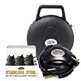 Grillbot AUTOMATIC GRILL AND BBQ CLEANER WITH CARRY CASE AND STAINLESS STEEL BRUSHES BUNDLE (BLACK)