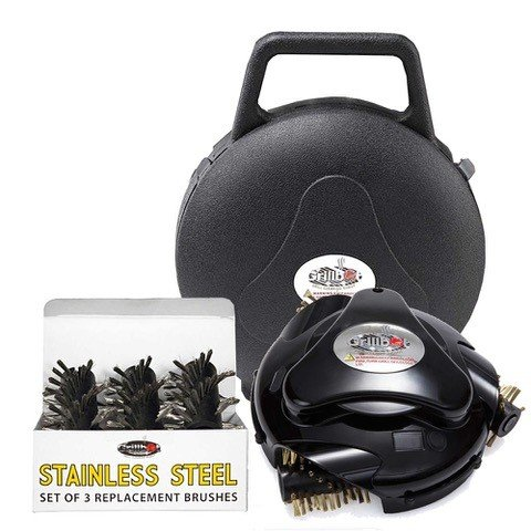Grillbot AUTOMATIC GRILL AND BBQ CLEANER WITH CARRY CASE AND STAINLESS STEEL BRUSHES BUNDLE (BLACK) by Grillbot