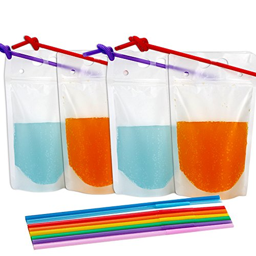 - Tomnk 200pcs Clear Drink Pouches Bags Smoothie Bags Reclosable Zipper Heavy Duty Hand-held Translucent Stand-up Plastic Pouches Bags Drinking Bags 2.4