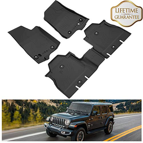KIWI MASTER Floor Mats Liners Compatible for 2018 2019 Wrangler JL Accessories New Body Jeep 4-Door OEM Floor Liners TPE All Weather Protector Slush Mat Front and Rear Row Black