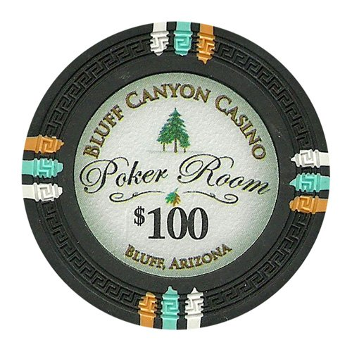 Nexgen Las Edge Vegas 100 - Claysmith Gaming $100 Clay Composite 13.5 Gram Bluff Canyon Poker Chips - Sleeve of 25
