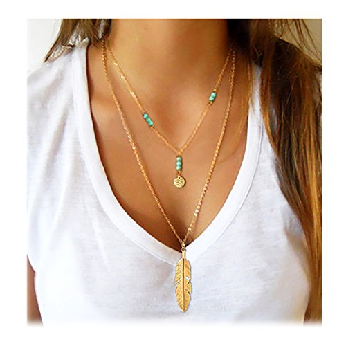 Wowanoo Simple Layered Bar Pendant Necklace Boho Feather Chain Necklace for Women Jewelry Feather G