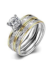 PMTIER Women's Stainless Steel Princess Diamond Ring Set Silver Gold Crystal Engagement Wedding Band