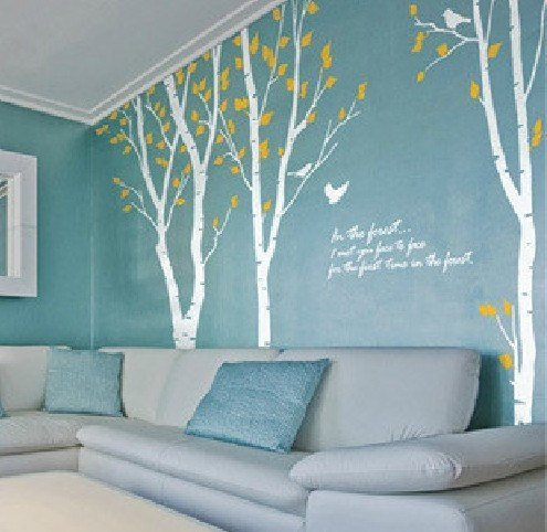 Amazon.com: OneHouse Birch Tree Wall Decal White Branch Tree With Yellow  Leaves Nature Tree Wall Stencil Kids Baby Nursery Decal Wall Art: Home U0026  Kitchen
