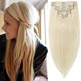 remy platinum - Standard Weft 10 Inch 70g Clip in 100% Real Remy Human Hair Extensions 8 Pieces 18 Clips #60 Platinum Blonde