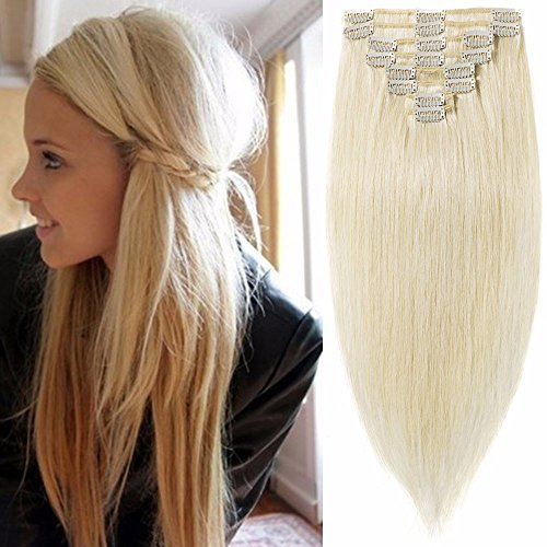 Standard Weft 10 Inch 70g Clip in 100% Real Remy Human Hair Extensions 8 Pieces 18 Clips #60 Platinum Blonde
