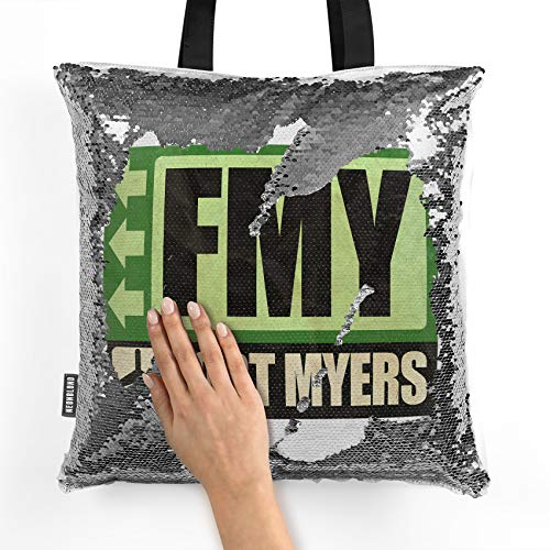 NEONBLOND Mermaid Tote Handbag Airportcode FMY Fort Myers Reversible Sequin