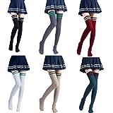 Vimans 2016 Women's Stripe Over the Knee High Socks Knit Thigh High Stockings Pack of 6 I