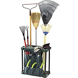 Freestanding garden tool rack sturdy garden for Gardening tools on amazon