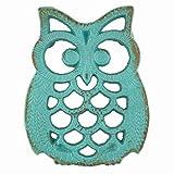 The Crabby Nook Blue Owl Iron Trivet Aqua Marine Teal Blue Kitchenware