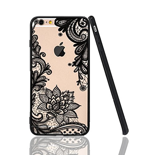 iPhone 7 Case,iPhone 8 Case,HUIYCUU Totem Henna Lace Flower Slim Fit Case Soft Border Matte Hard Back Cover Girls Paisley Datura Design for iPhone 7 / iPhone 8 4.7 inches ,Black Mandala